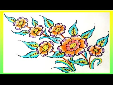 480x360 Flower Design With Colour Pencil Drawing