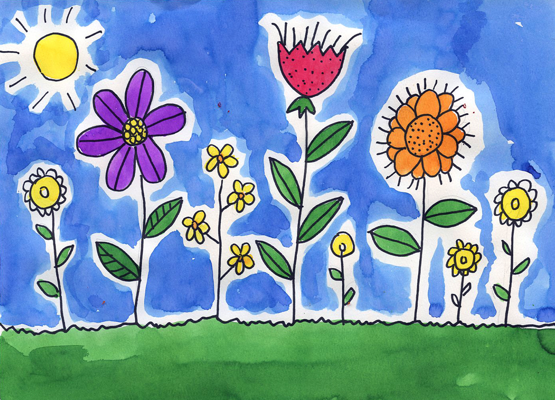1140x823 Spring Flower Watercolor Painting For Kids
