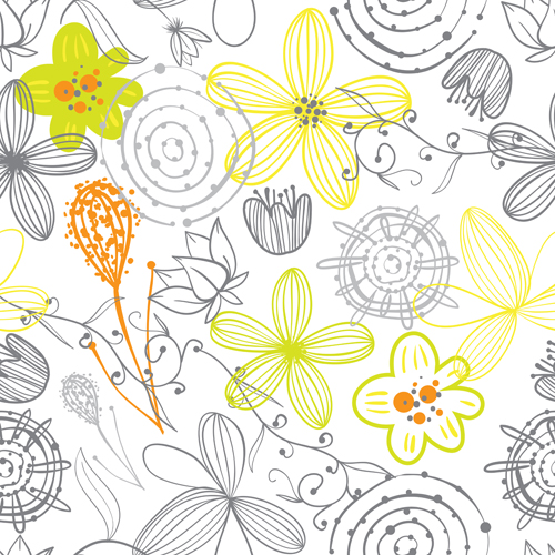 500x500 Doodle Flowers Hand Drawing Vector Pattern 09
