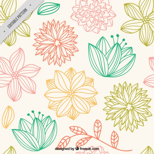 626x626 Hand Drawn Cute Flowers Pattern Vector Premium Download