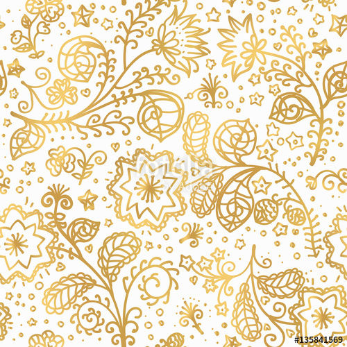 500x500 Vector Gold Pattern On White Background With Line Hand Drawing