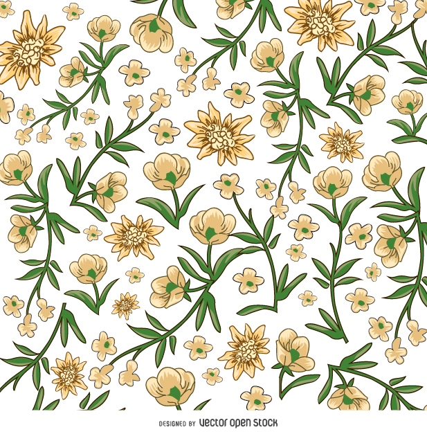 617x627 Yellow And White Flower Pattern