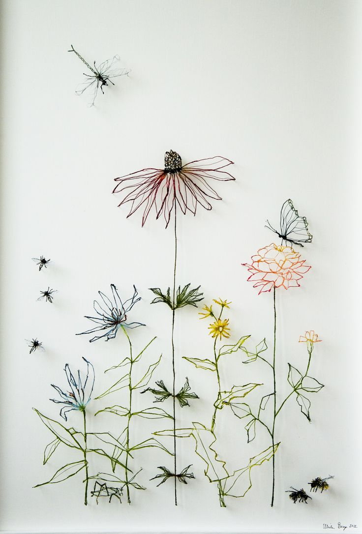 736x1086 Flower Drawings Best Thread Art Ideas