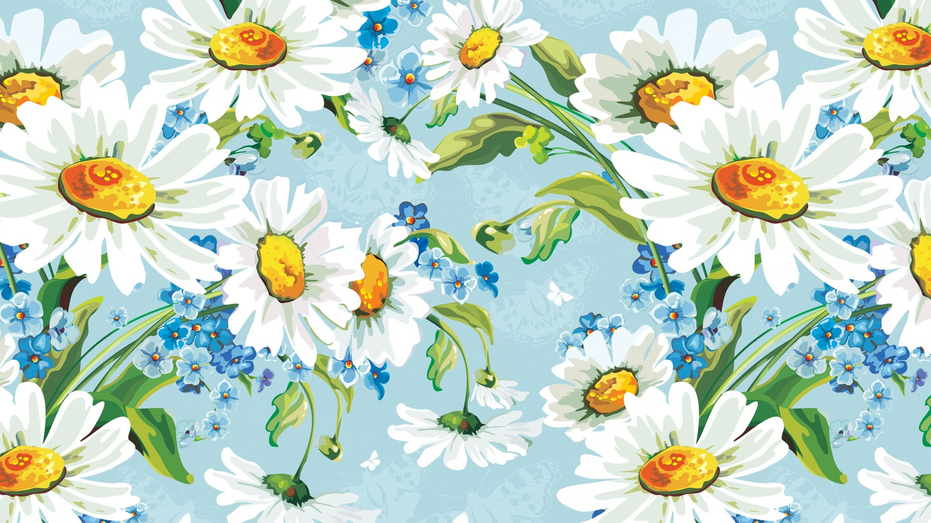 1920x1080 Download Wallpaper Background Drawing Flowers Daisies