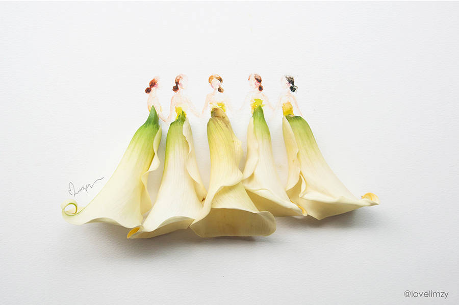 900x598 Beautiful Dresses Sketches Completed With Flowers Fubiz Media