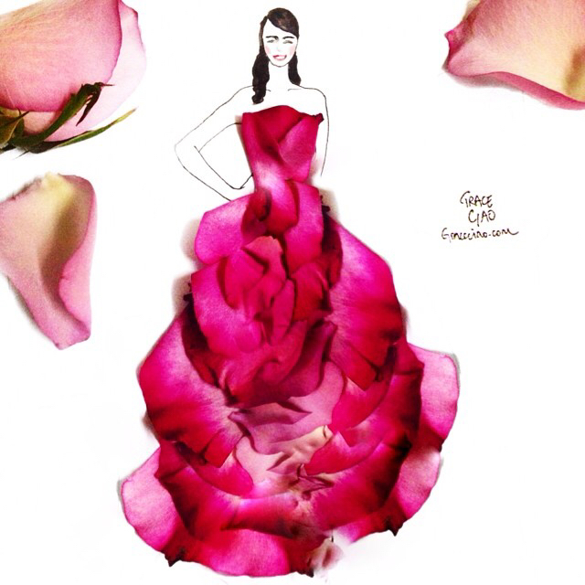 640x640 Drawing Of A Girl Wearing A Gown Made From Pink Flower Petals Art