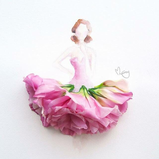 640x640 Drawing Of A Girl Wearing A Dress Made With Pink Flowers Art Art