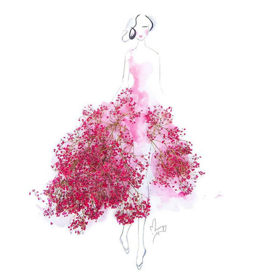 900x900 Elegant Drawings Of Girls Wearing Dresses Made Of Real Flower