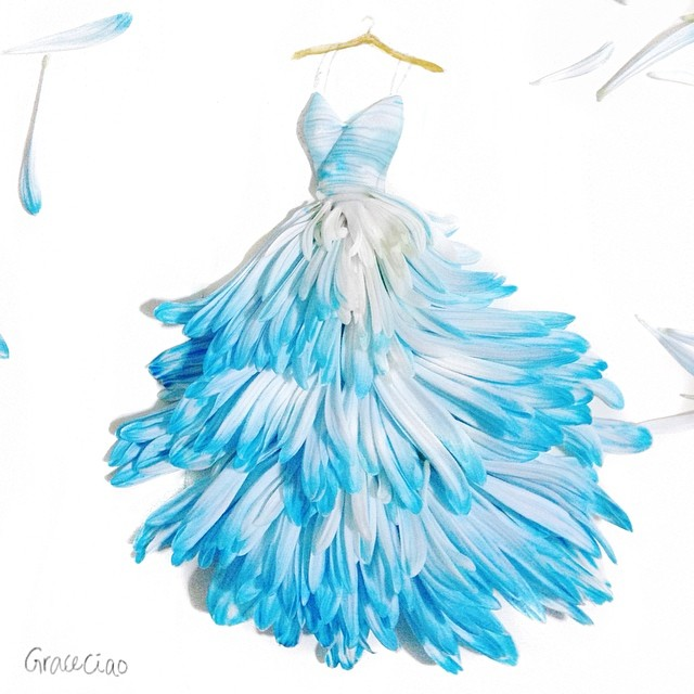 640x640 Fashion Illustrator Turns Flower Petals Into Gorgeous Dresses