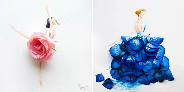 600x300 Girls Drawing Wearing Dresses Made Of Real Flower Petals
