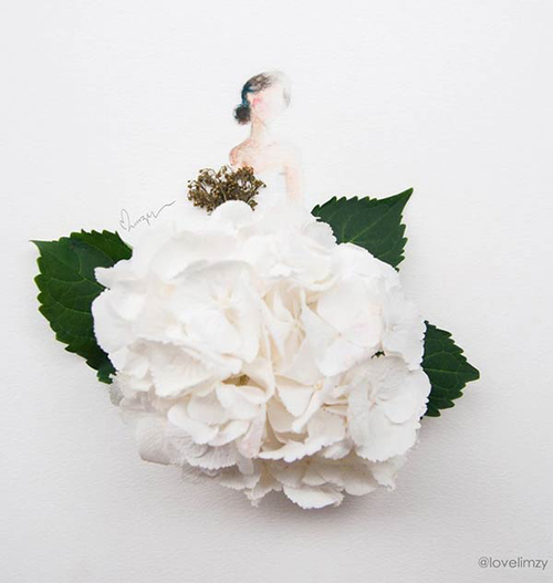 500x527 White Flower Petals Dress Drawing On We Heart It