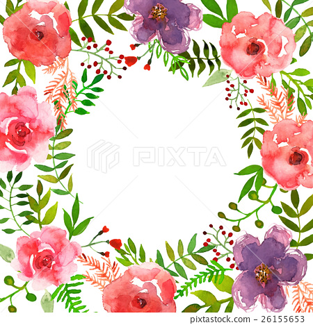 450x468 Vector Flowers Frame Drawing Watercolor.