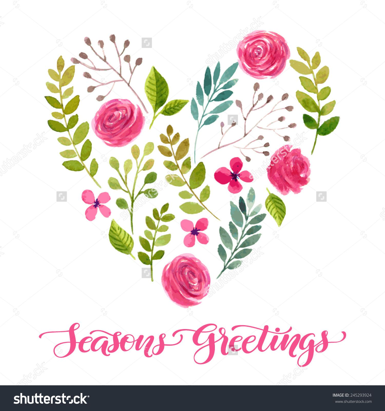 1500x1600 Vector Illustration Of Flowers Frame. Colorful Floral Heart