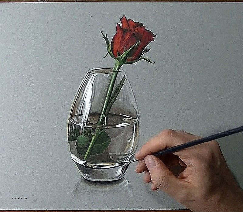 800x698 Awesome Flower Vase Pencil Drawing