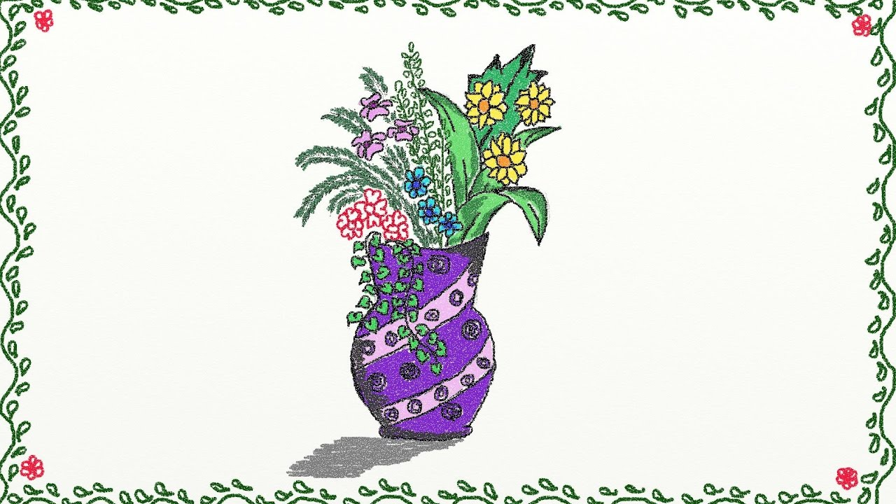 1280x720 Drawing A Simple Flower Vase How To Draw A Flower Vase Drawing