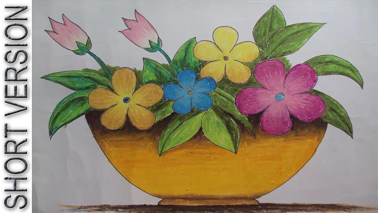 1280x720 How To Draw A Flower Vase With Oil Pastel [Short Version]