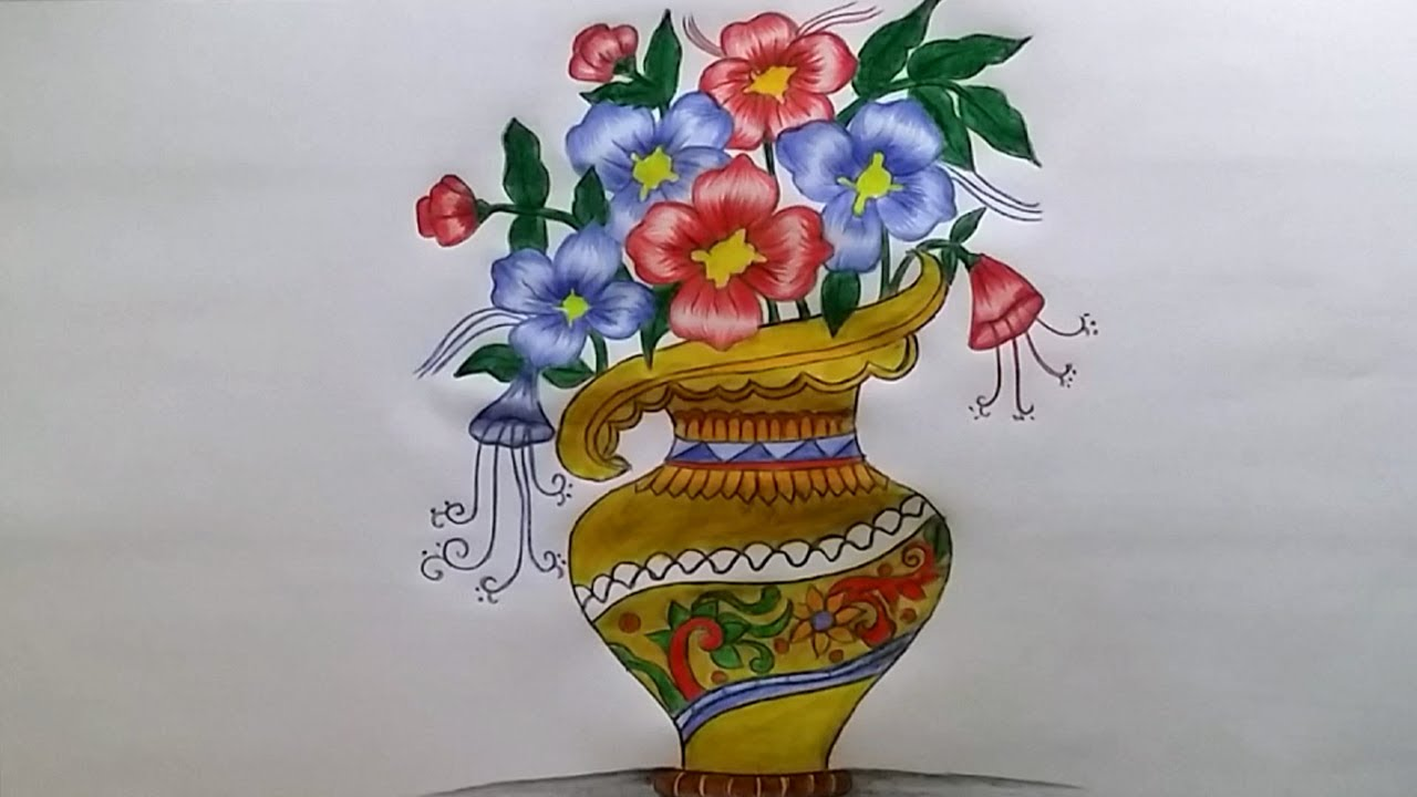 1280x720 How To Draw Flower Vase With Drawing Technique Step By Step