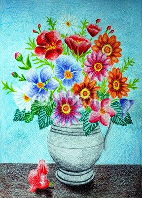 288x400 Colored Pencil Flower Vase Drawing Drawings Flower
