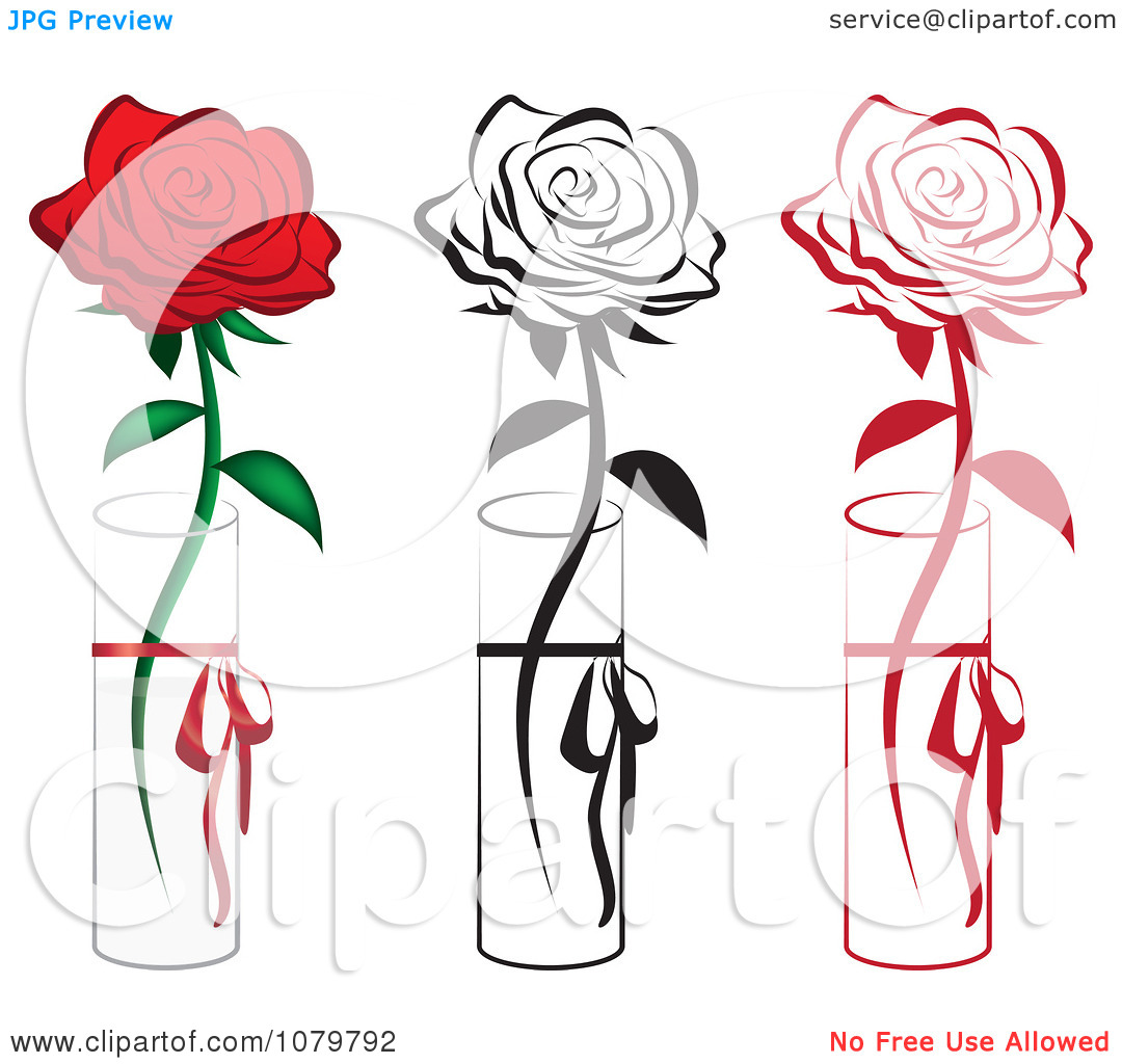 1080x1024 Drawn Red Rose Vase Drawing