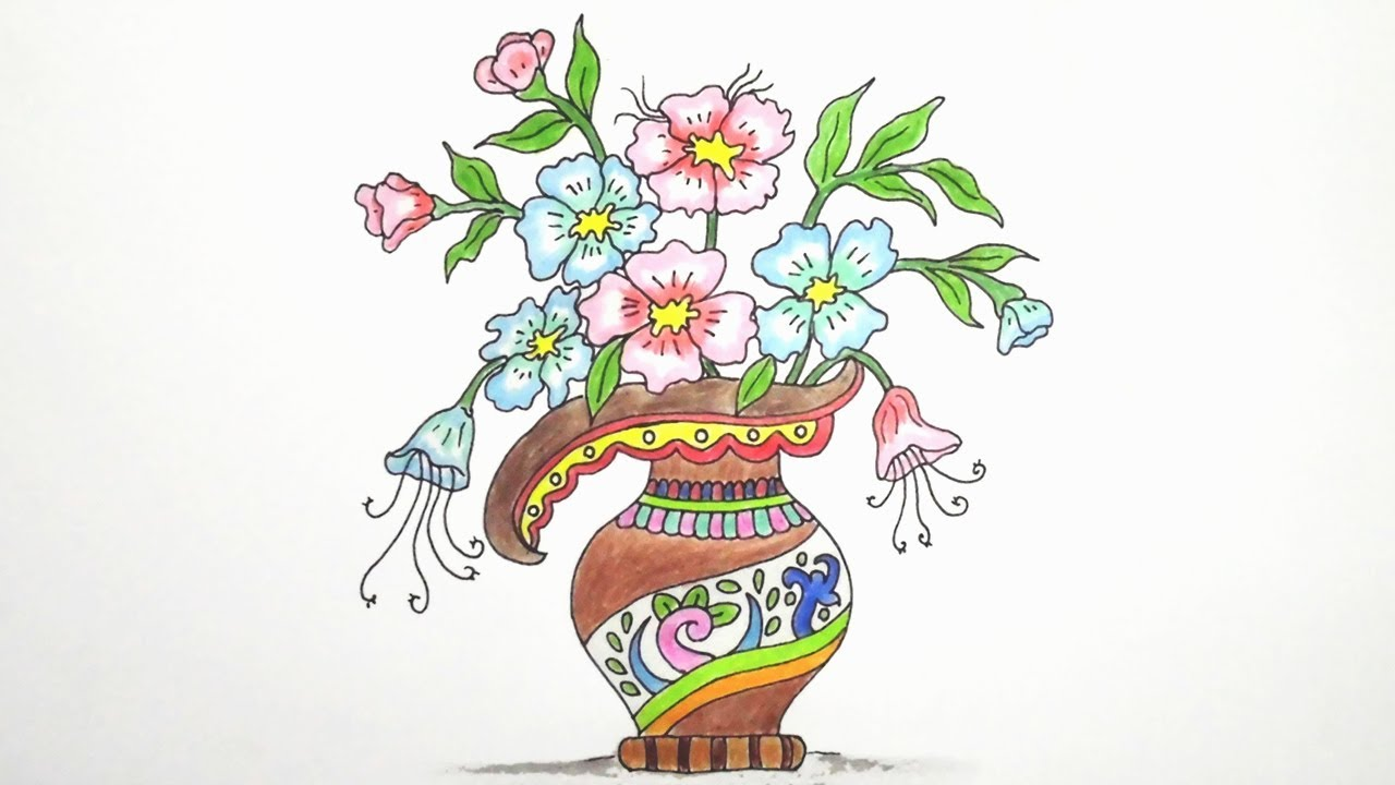 1280x720 How To Draw Flower Vase (Very Easy) Drawing Flower Vase