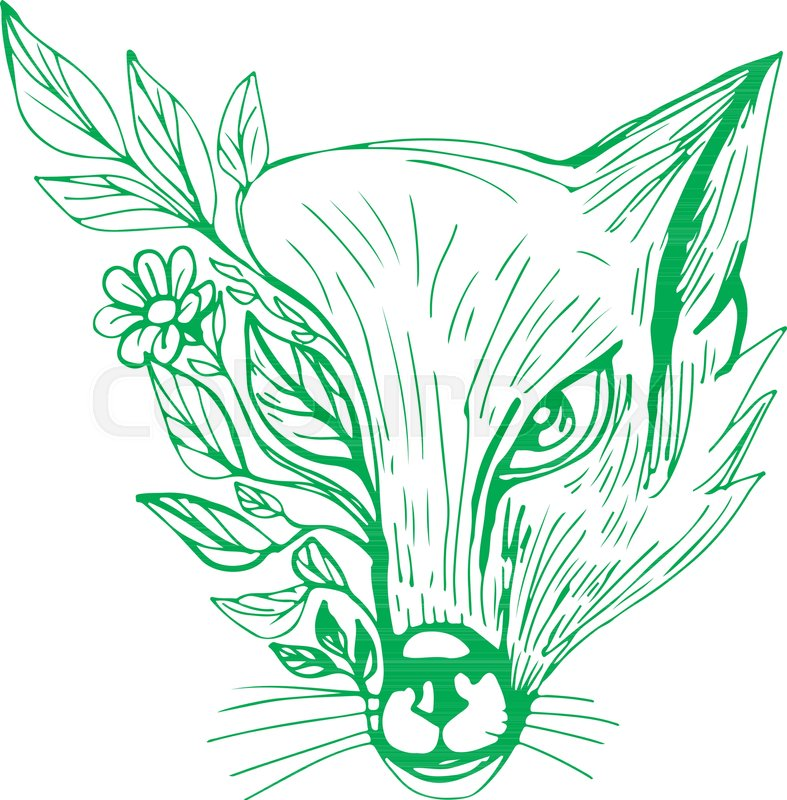 787x800 Drawing Sketch Style Illustration Of A Fox Head With Flower