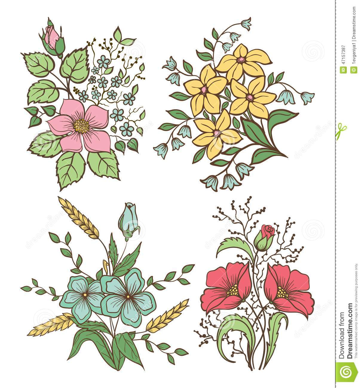 1212x1300 Flower And Leaves Drawings