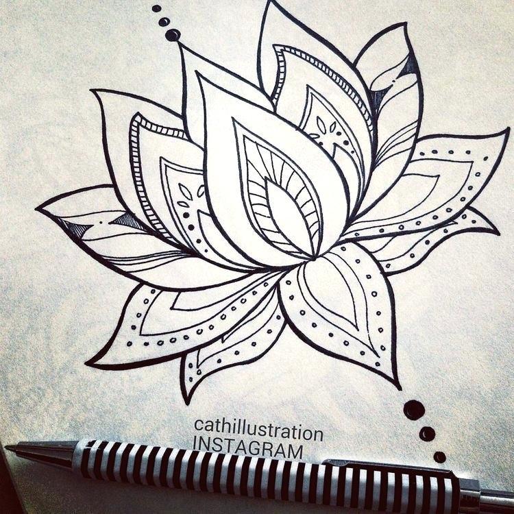 750x750 Lotus Flower Sketch How To Draw Lotus Flower Step 7 Lotus Flower
