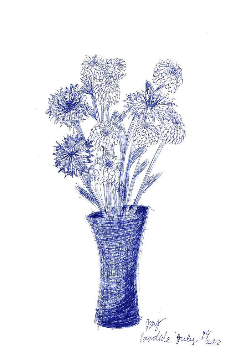 Flower Pen Drawing at GetDrawings.com | Free for personal use Flower ...