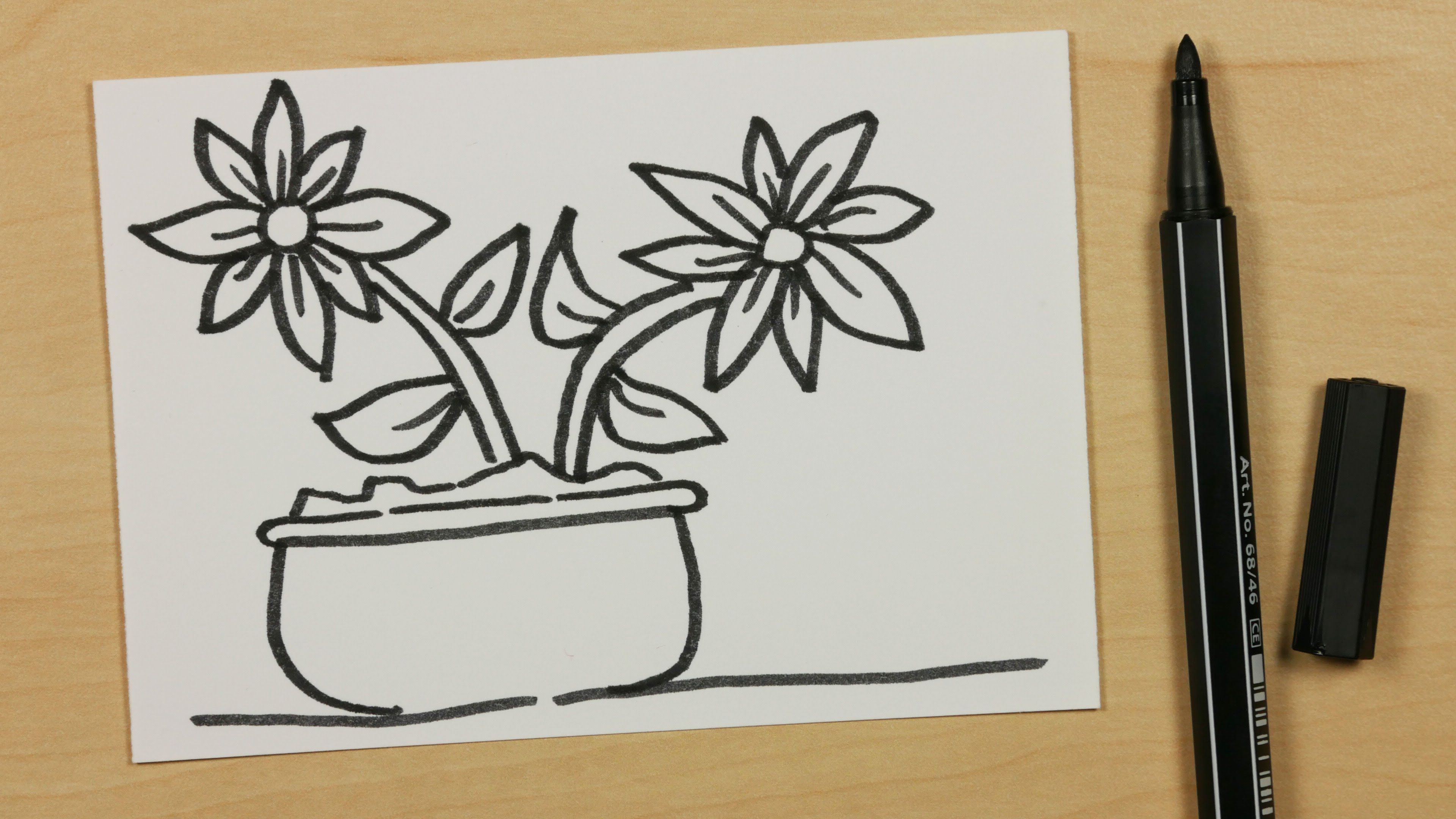 3840x2160 How To Draw A Plant Pot With Two Flowers