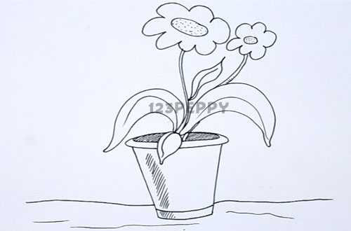 500x330 how to draw flower pot