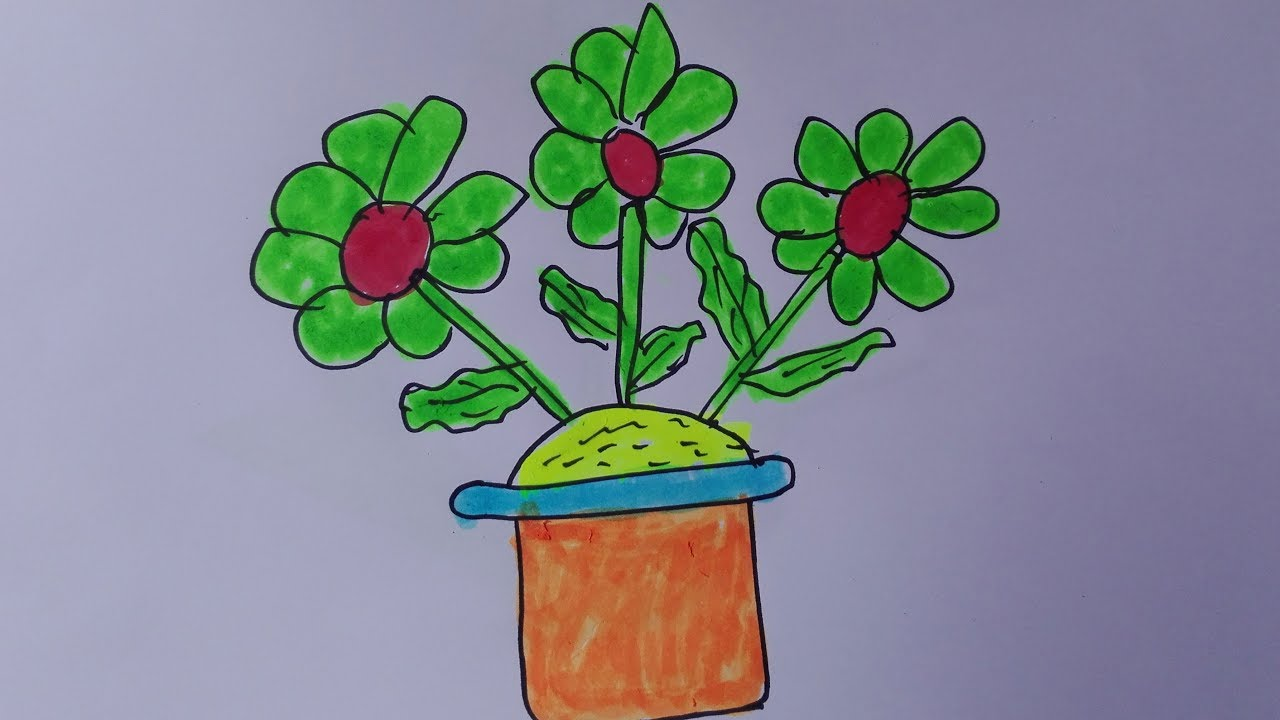1280x720 How To Draw A Flower Pot Flower Pot Drawing With Colour Flower Pot