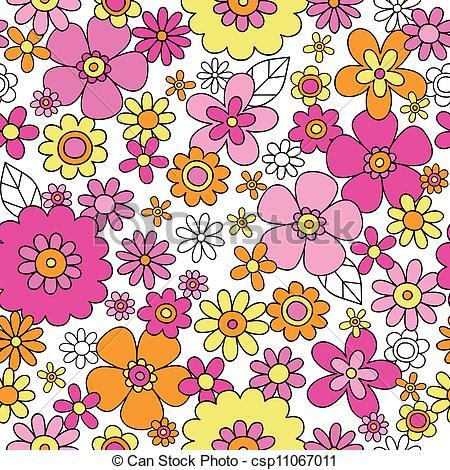 450x470 Flower Power Seamless Pattern. Flowers Seamless Pattern Vector