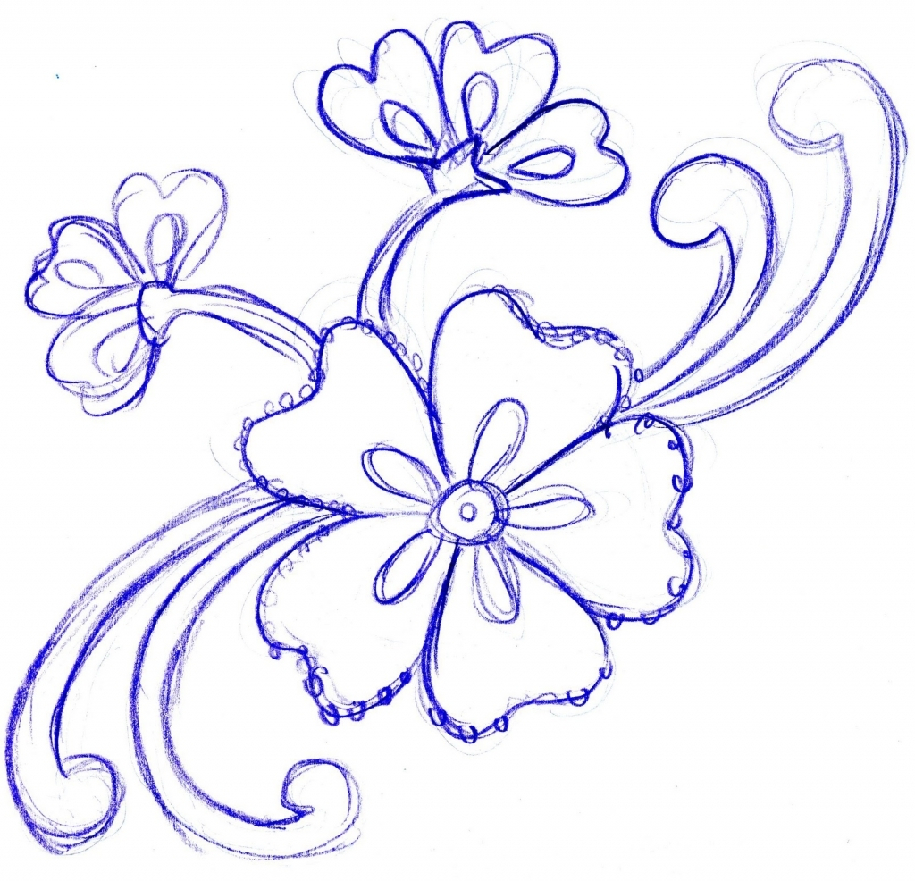 1024x986 Simple Pencil Sketch Of Flowers Simple Flower Designs For Pencil