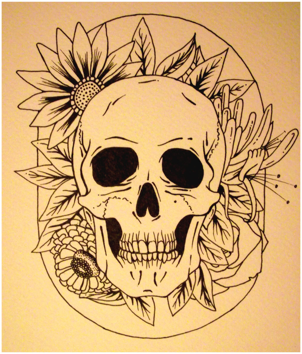 63c09beb4d40c Flower Skull Drawing at GetDrawings.com | Free for personal use ...