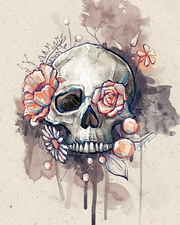 600x750 Flower Eye Skull Something Similar To This (Same Colours, No