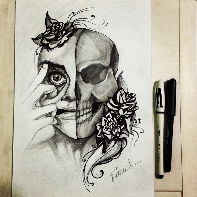 640x640 Half Skull Girl And Flowers Drawing By Kubrart