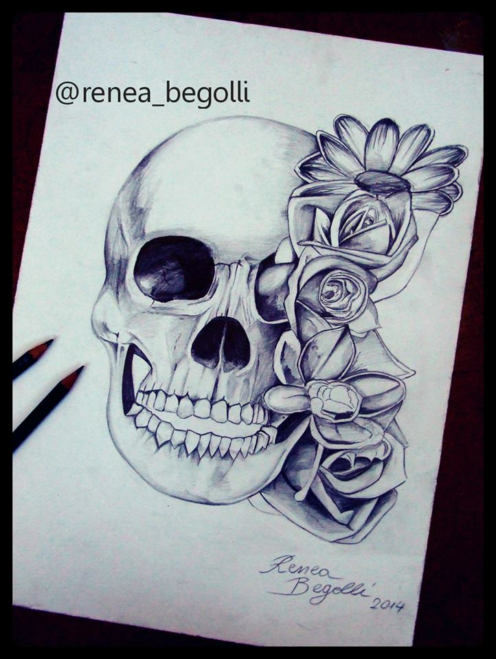 722x960 Skull And Flower Drawing By Reneab98