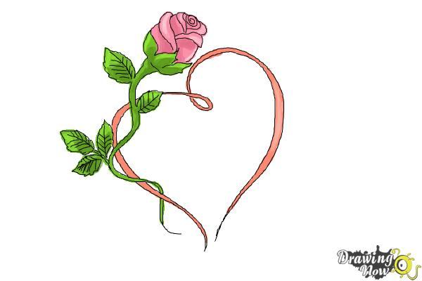 600x400 How To Draw A Rose With A Heart