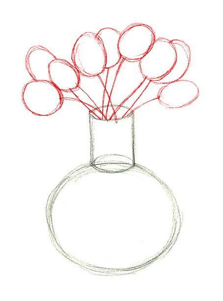 454x612 Drawn Rose Vase Drawing