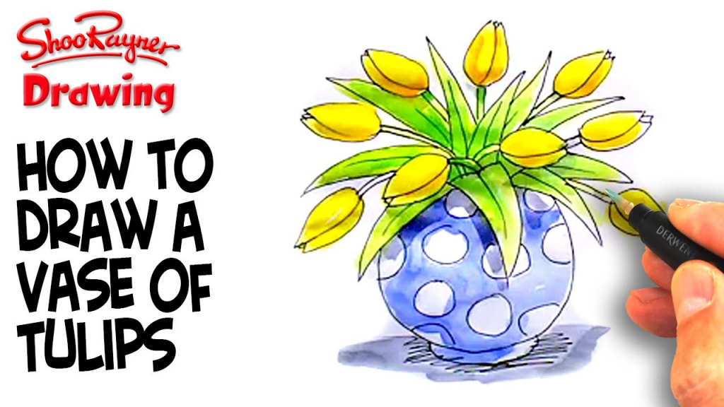 1024x576 Flower Vase Drawing Kid How To Draw A Vase Of Tulips