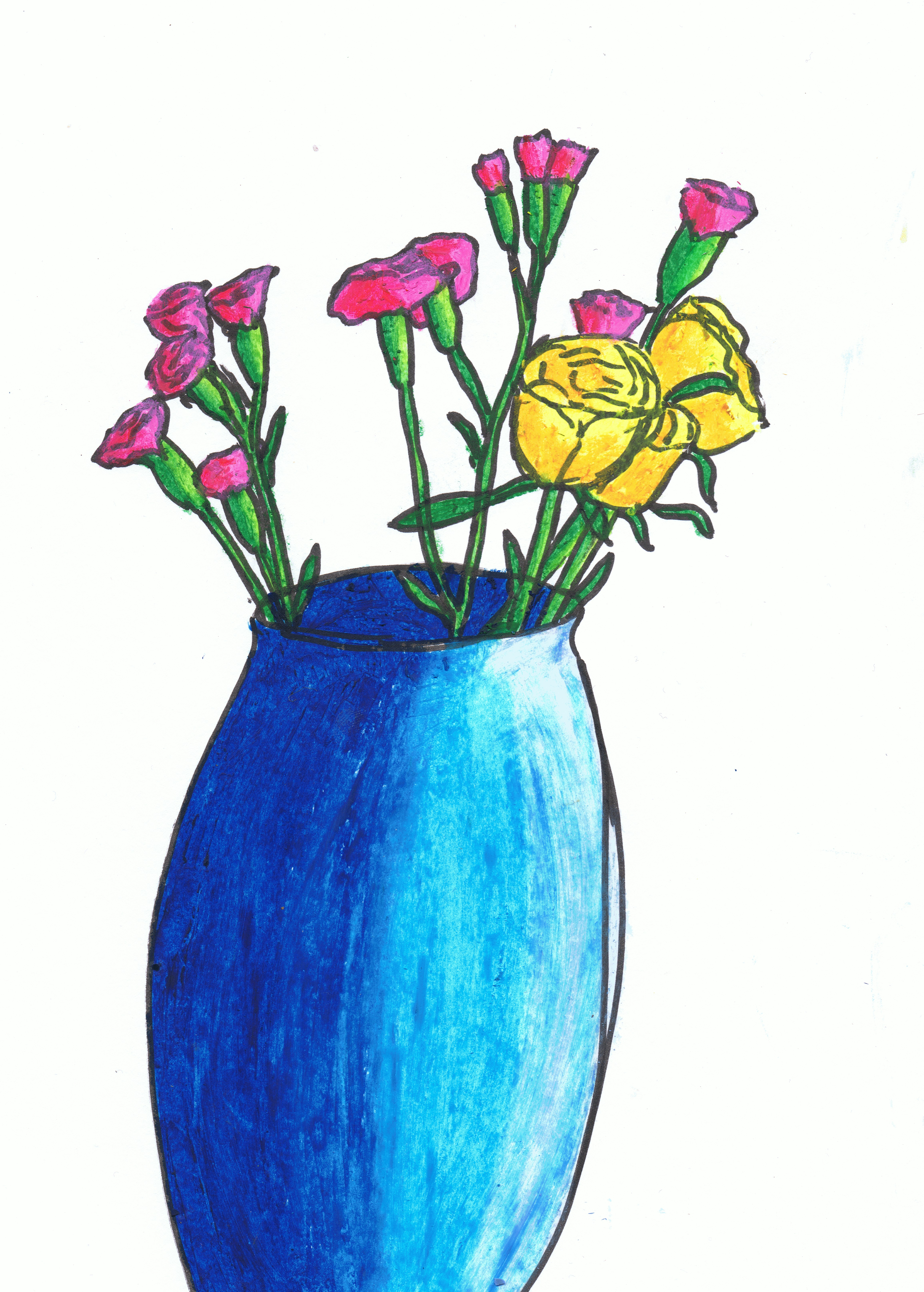 4621x6460 Flower Vase Drawing With Colour Drawing Plants And Flowers Project