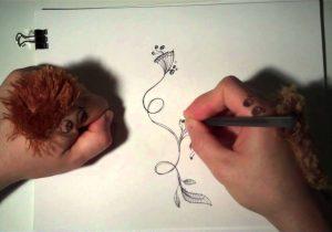 300x210 Flower Vine Drawing