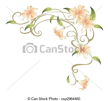 450x422 Flower And Vines. Drawing Of Beautiful Flower In A White Stock