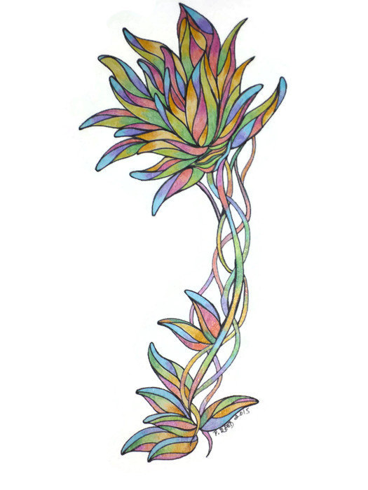 525x700 Original Colored Pencil Drawing Floral Artwork Multi Colored