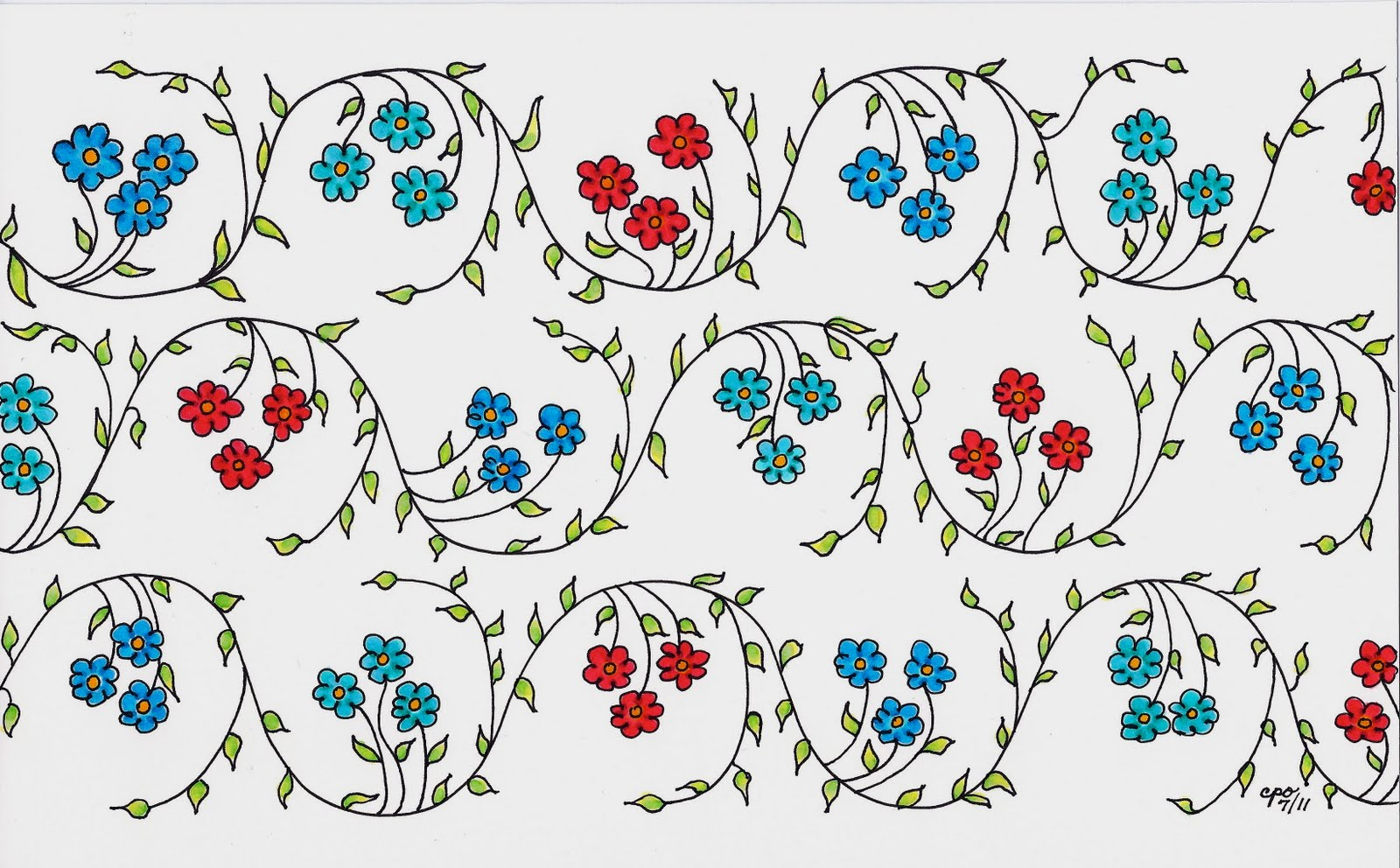 1600x992 Mostly Markers Pattern Of Vines And Flowers