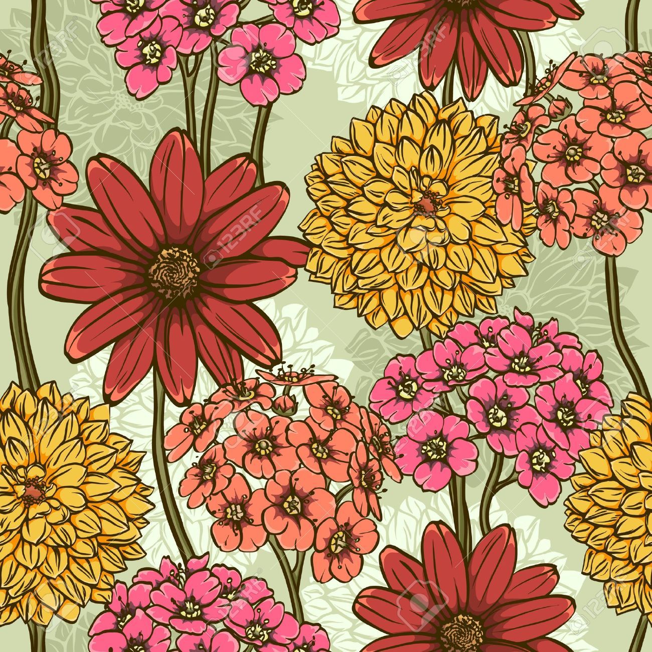 1300x1300 Colorful Floral Seamless Wallpaper With Magnetic Hand Drawn
