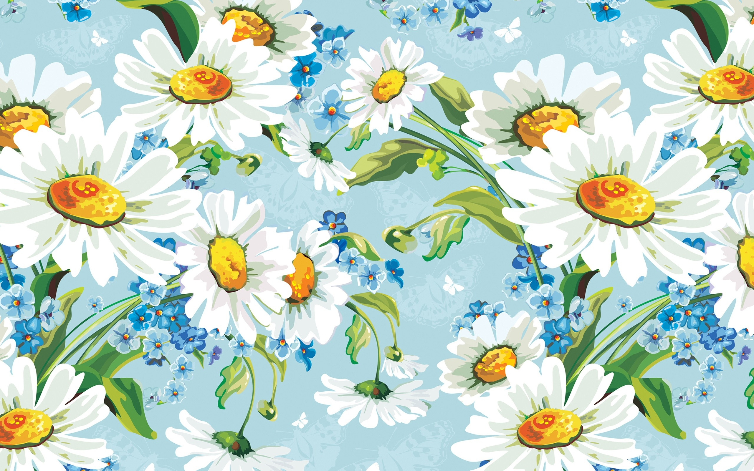 2560x1600 Wallpaper Drawing, Illustration, Flowers, Daisies, Flower