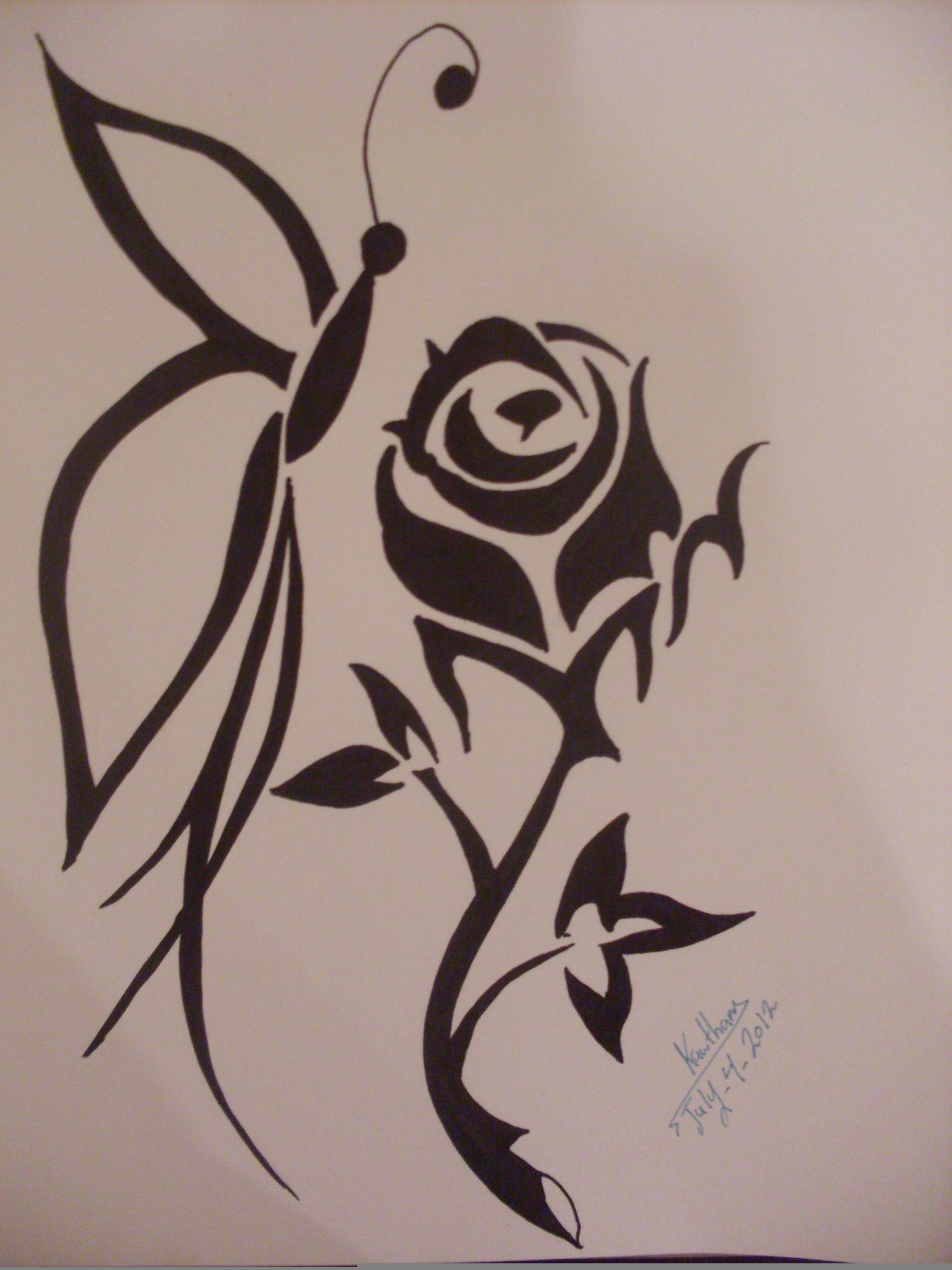 2304x3072 Butterfly On Flower Drawing In Pencil Beautiful Flower