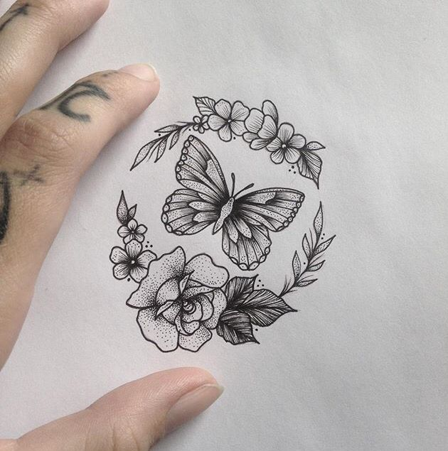 630x635 Butterfly Amp Flowers Tattoo By Yatted