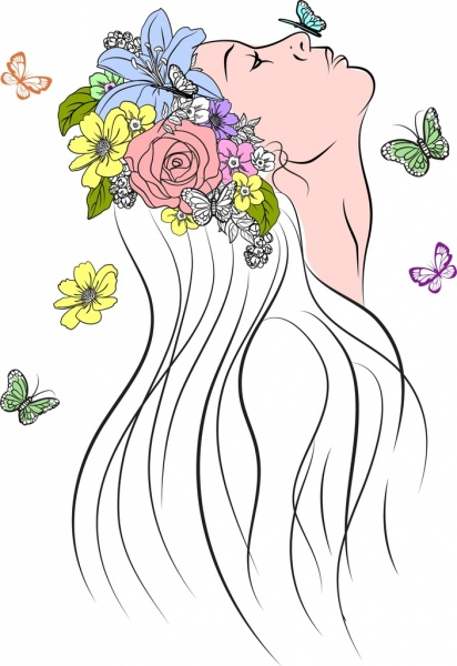 412x600 Flowers And Butterfly Vector Free Vector In Adobe Illustrator Ai